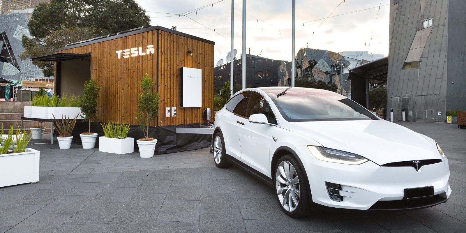 The two-tonne tiny house is powered by six solar panels and one Tesla Powerwall.